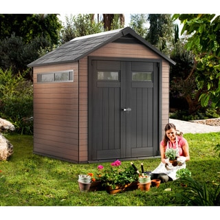 Keter Fusion Large 7.5 x 7-foot Wood & Plastic Outdoor Yard Garden Composite Storage Shed