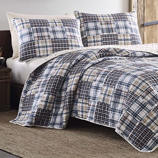 Eddie Bauer Sandpoint Plaid Yellow and Blue Quilt Set