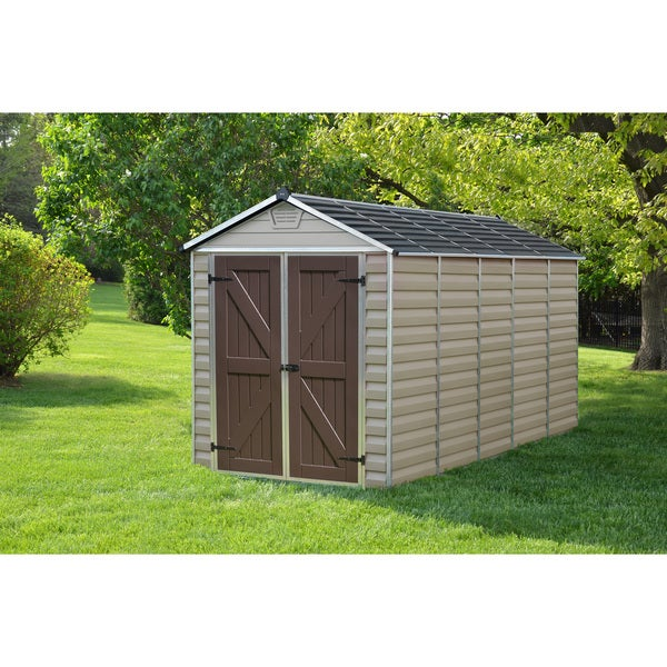 Heavy duty shed tan garden tool storage 6 39 x12 39 durable for Durable sheds