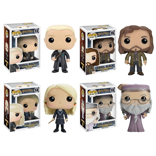 Funko Harry Potter POP! Movies Collectors Set: Draco Malfoy, Sirius Black, Luna Lovegood & Dumbledore