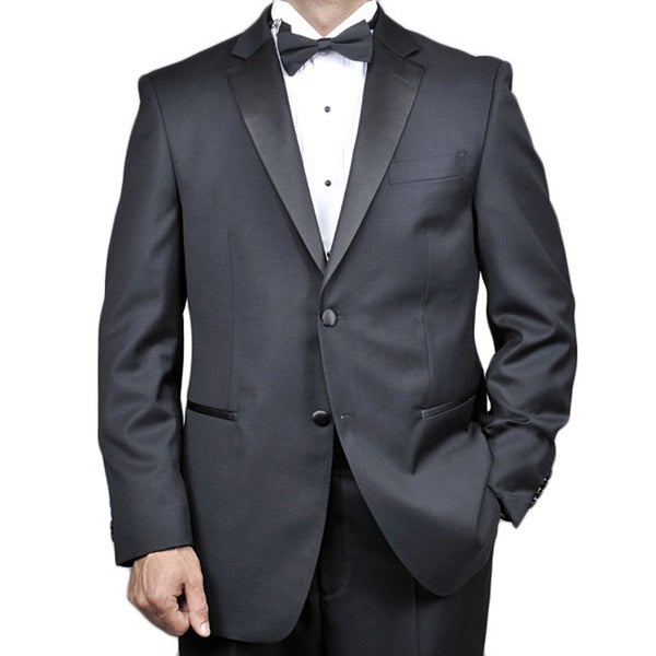 Men's Black Wool 2-button Tuxedo (44S/38W) (As Is Item)