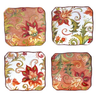 Certified International Spice Flowers 6-inch Canape Plates (Set of 4) Assorted Designs