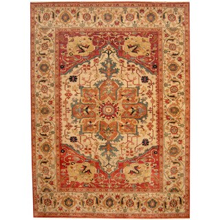Herat Oriental Indo Hand-knotted Tribal Serapi Ivory/ Rust Wool Rug (8'9 x 11'10)