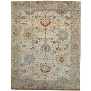 Herat Oriental Indo Hand-knotted Tribal Oushak Ivory/ Gold Wool Rug (9' x 12')