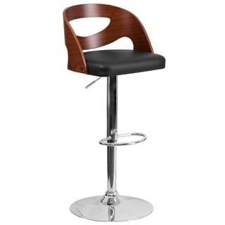 Beech Bentwood Adjustable Bar Stool With Black Vinyl Seat