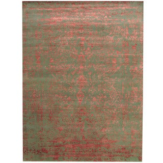 Herat Oriental Indo Hand-knotted Tribal Erased Green/ Red Wool & Silk Rug (9' x 12')