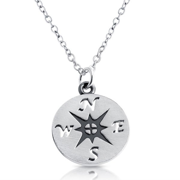 Sterling Silver Nautical Rose Compass Medallion Necklace