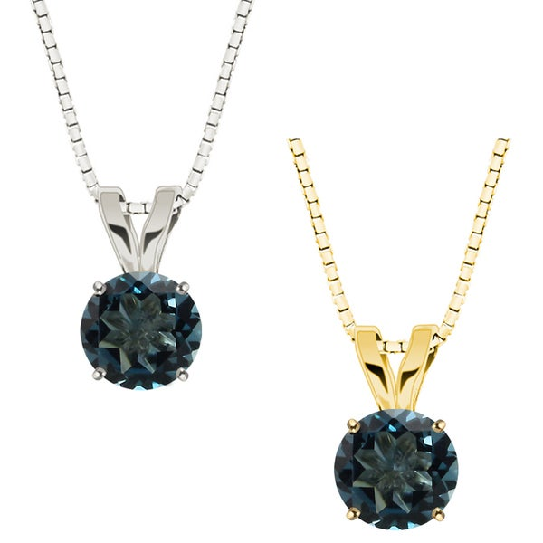 10k White or Yellow Gold 8mm Round London Blue Topaz Solitaire Pendant Necklace