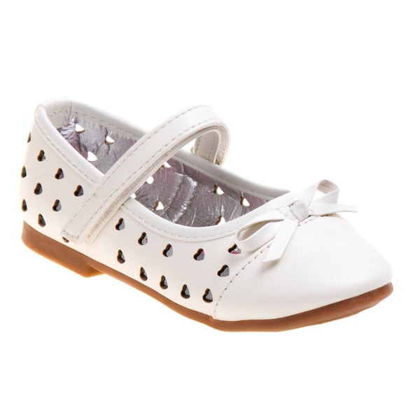 Rugged Bear Girls' White Ballerina Flats