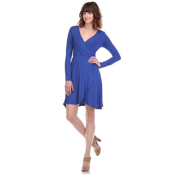 JED Women's Long Sleeve Faux Wrap Dress