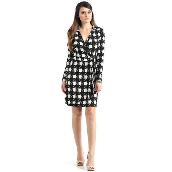 JED Women's Long Sleeve Printed Wrap Dress