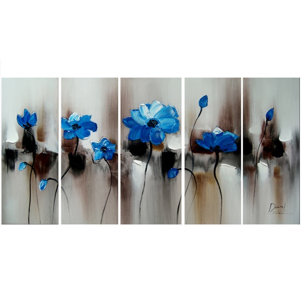 Hand-painted Blue Floral Art Painting 1104
