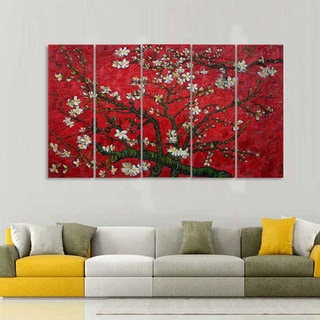 Hand-painted Almond Tree Oil Painting with Flowers 1043