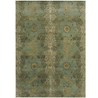 Herat Oriental Indo Hand-knotted Tribal Aubusson Green/ Gray Wool Rug (8'6 x 11'9)