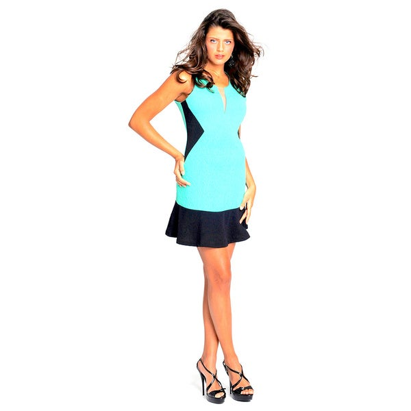 Sara Boo Mint/ Black Color Block Dress