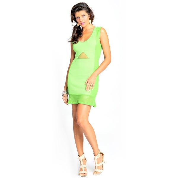Sara Boo Flutter-Hem Dress with Mesh Detail