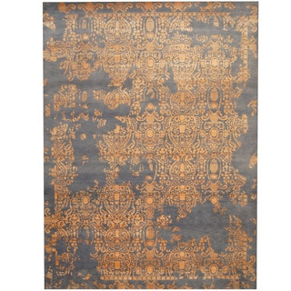 Herat Oriental Indo Hand-knotted Erased Gray/ Orange Wool & Silk Rug (10' x 14')