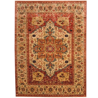 Herat Oriental Indo Hand-knotted Tribal Serapi Ivory/ Red Wool Rug (9' x 12')