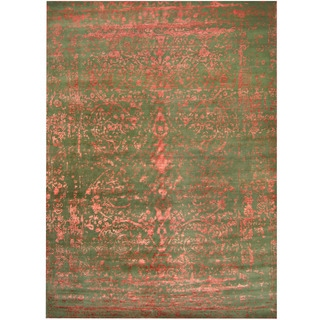 Herat Oriental Indo Hand-knotted Erased Green/ Red Wool and Silk Area Rug (10' x 14')