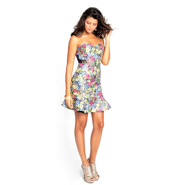 Sara Boo Floral Print Sweetheart Dress