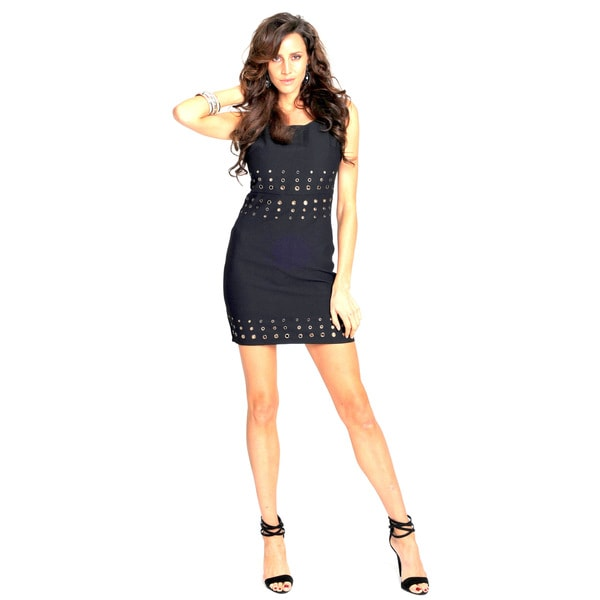 Sara Boo Black Grommet-Embellished Dress