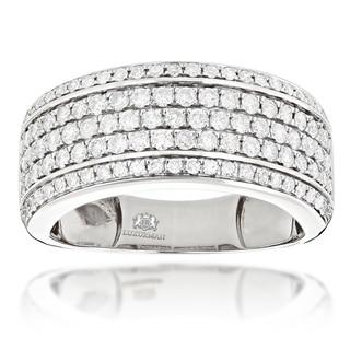 Luxurman 14k Gold 1 7/8ct TDW Men's Diamond Wedding Band Ring (H-I, SI1-SI2)