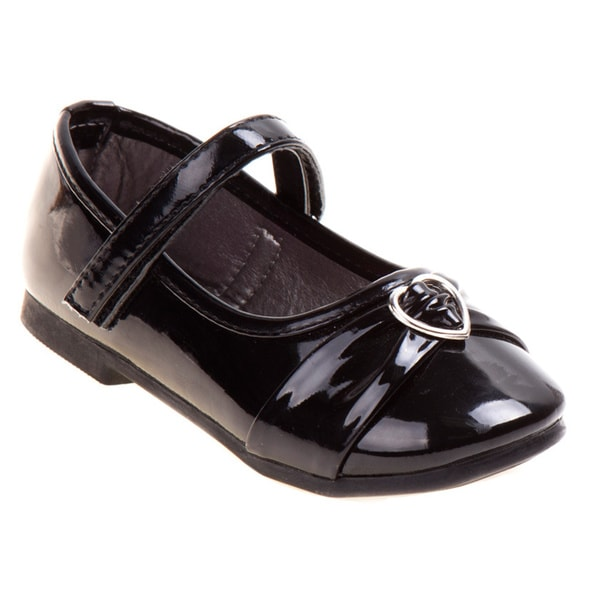 Rugged Bear Little Girls' Black Heart Buckle Ballerina Flats
