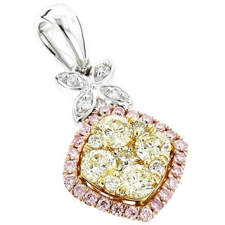 Luxurman 14k White Gold 4/5ct TDW Triple Color Diamond Pendant (H-I, SI1-SI2)