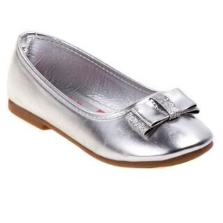 Rugged Bear Toddler Girls' Silver Sparkle Bow Ballerina Flats
