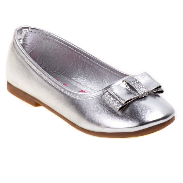 Rugged Bear Toddler Girls' Silver Sparkle Bow Ballerina Flats