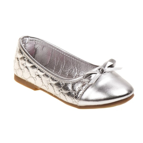 Rugged Bear Girls' Metallic Heart Print Ballerina Flats