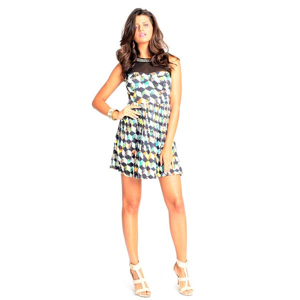 Sara Boo Geometric Print Skater Dress