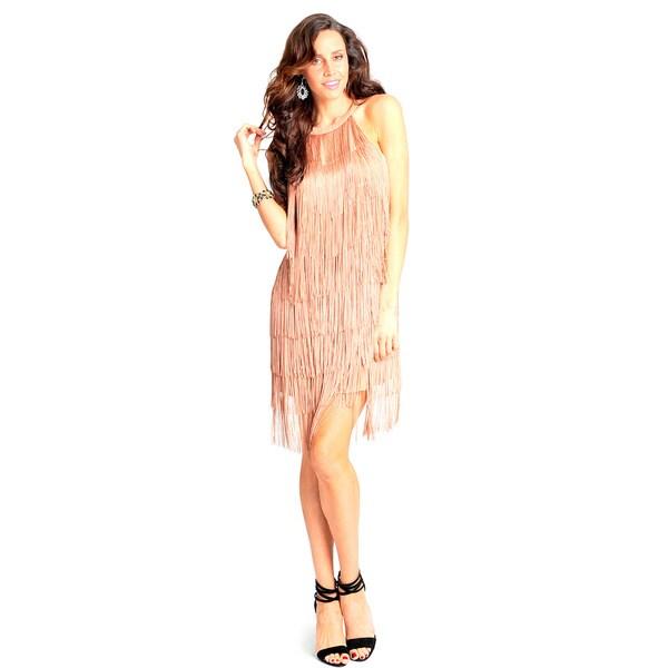 Sara Boo Fringed Halter Dress