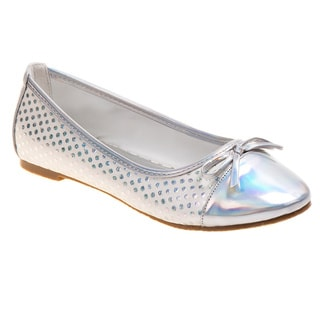 Laura Ashley Girls' Silver Ballerina Flat with Bow