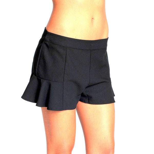 Sara Boo Solid Black Flare Shorts