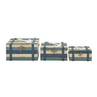 3 Decorative Wooden Trunks Set