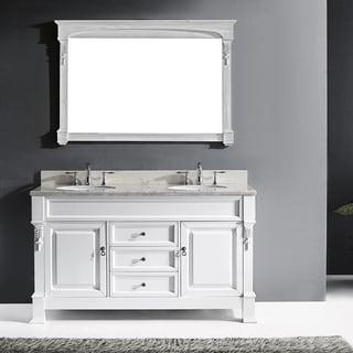 Virtu USA Huntshire 60-inch White Double Bathroom Vanity Cabinet Set