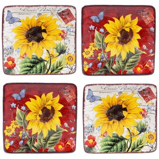 "Certified International Sunflower Meadow 6"" Canape Plates (Set of 4) 2 Assorted Designs"