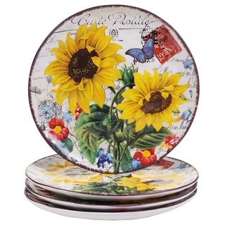 "Certified International Sunflower Meadow 10.75"" Dinner Plates (Set of 4)"