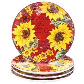 """Certified International Sunflower Meadow 8.5"""" Salad/Dessert Plates (Set of 4)"""