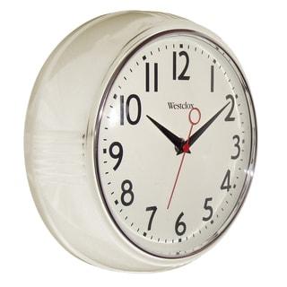 "Westclox 9.5"" White Retro Wall Clock"