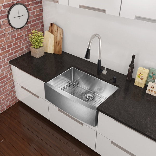 33 Inch Stainless Steel Farmhouse Sink : 33-inch Stainless Steel Farmhouse Kitchen Sink and Milburn Stainless ...