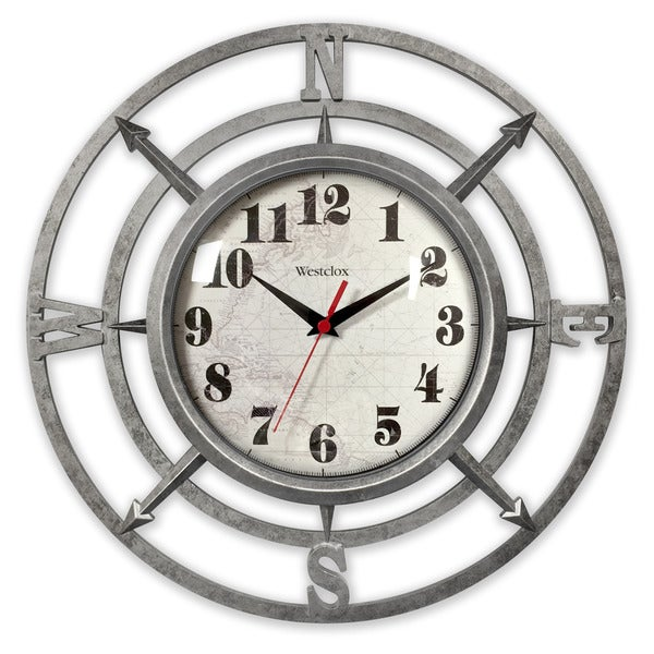 "Westclox 14""Metallic Finish Compass Wall Clock"