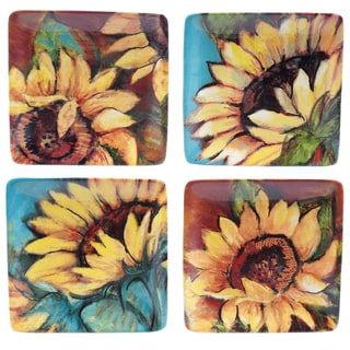 """Certified International Sunflower Rooster 6"""" Canape Plates (Set of 4) Assorted Designs"""