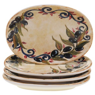 """Certified International Umbria 6.5"""" Oval Canape Plates (Set of 4)"""