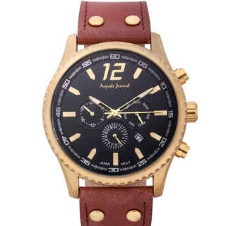 Auguste Jaccard Men's Aftershock Multifunction Watch with Brown Leather Strap