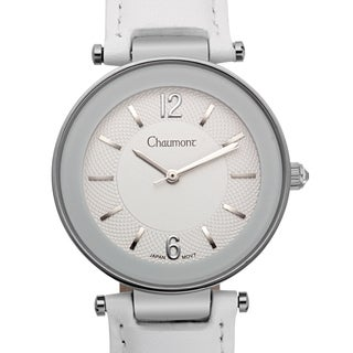 Chaumont Women's Georgette White Leather Stainless Steel Multi-textured Dial Watch