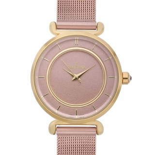 Charles Latour Women's Biro Pastel Dial Watch with Pink Metal Mesh Strap