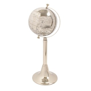 Polished Silver Aluminum 23-Inch Tall Decorative Globe