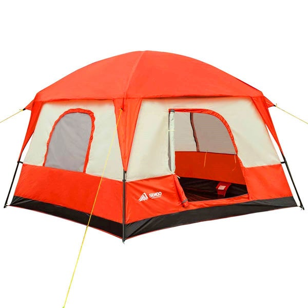 Semoo Waterproof 4-5 Person 2 Doors,3 Season Large Family Cabin Tent for Camping with Compression Bag